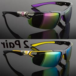 2 Pair Men Polarized Sunglasses Sport Wrap Around Mirror Dri