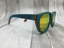 2019 Handcrafted Unisex Blue Skate Wood Frame Gold Mirror Po