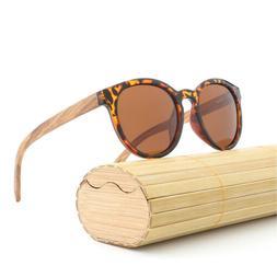 Unisex Retro Leopard Polarized Wood Leg UV400 Protection Sun