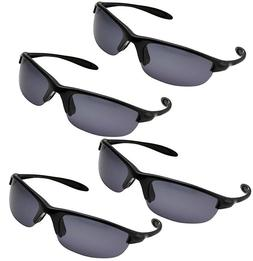 4 Pack Men's Polarized Sport Wrap Around Sunglasses - Black