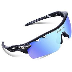RIVBOS 801 Polarized Sports Sunglasses Sun Glasses with 5 In