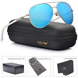 LUENX Aviator Polarized Sunglasses Mirrored Light Blue for W