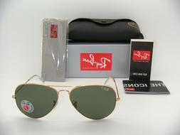 Ray-Ban AVIATOR LARGE METAL - GOLD Frame CRYSTAL GREEN POLAR