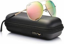 LUENX Aviator Sunglasses for Women Polarized Mirror with Cas