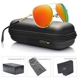 LUENX Aviator Sunglasses Orange Polarized w/ Gold Frame w/ C