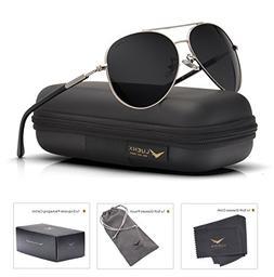 Mens Womens Sunglasses Aviator Polarized Black by LUENX, Lig