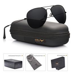 LUENX Aviator Sunglasses Polarized Mens Womens Black Lens Bl