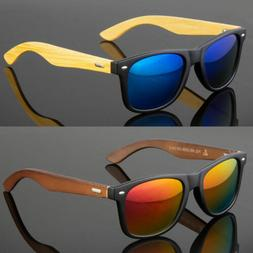 Bamboo Sunglasses Wooden Men Women Retro Vintage Wood Mirror
