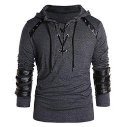 Realdo Mens Bandage Hoodie, Men's Fashion Cool Drawstring Vi