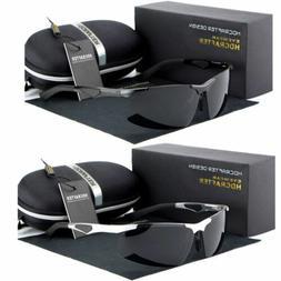 Black Polarized Wrap Men Glasses Outdoor Sports Eyewear Driv