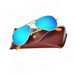 d45b2efe7107 Bnus corning natural glass lenses aviator polarized sunglass