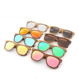 Brown Wood Frame Polarized Sunglasses Men Women's Wooden Gla