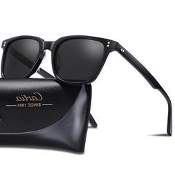 Carfia Men's Polarized Vintage Sunglasses Square Eyewear Fas