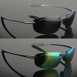 Classic Retro Vintage Mens Polarized Fashion Rimless Sunglas