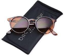 WearMe Pro Classic Small Round Retro Sunglasses, Tortoise Fr