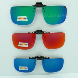 Clip on flip up sunglasses color mirror gray polarized fish