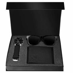 LORENZ Combo of Black Men's Wallet  Sunglasses  Watch  Choos