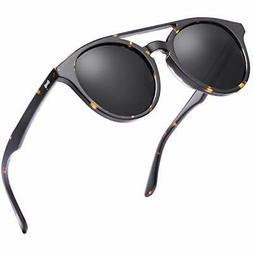 Carfia Double Bridge Round Polarized Sunglasses for