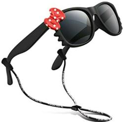 Rivbos Kids Polarized Sunglasses Black  Red Bow 3-10 Year Wi