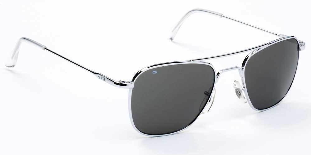 AO 52mm Silver Frame Gray Lens Sunglasses