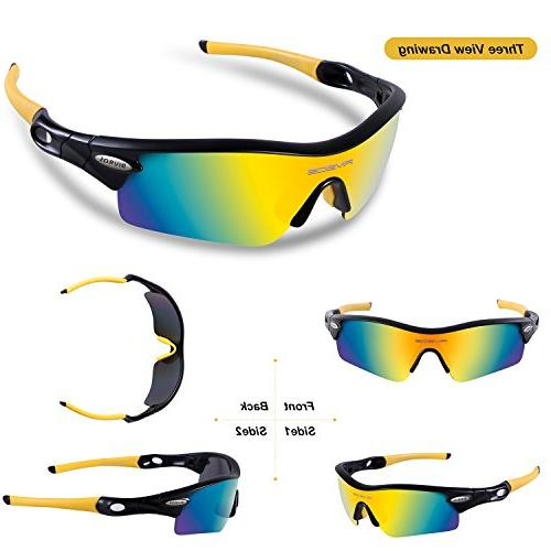 RIVBOS Sunglasses with Set Interchangeable Lenses for Cycling