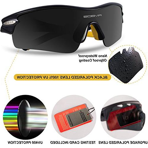 RIVBOS 805 Sunglasses with 5 Interchangeable Cycling