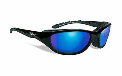 airrage sunglasses polarized blue mirror gloss black