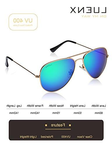 LUENX Sunglasses Men Polarized Mirrored Lens Metal Frame UV Case