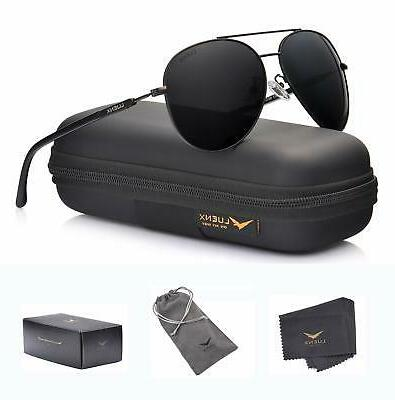 UV 400 Protection 60mm LUENX Aviator Sunglasses Mens Womens Polarized Mirror