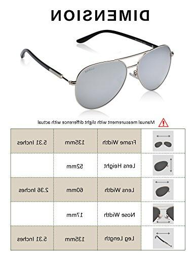 LUENX Aviator Mens Silver Lens Silver Frame 60mm 400 Protection with