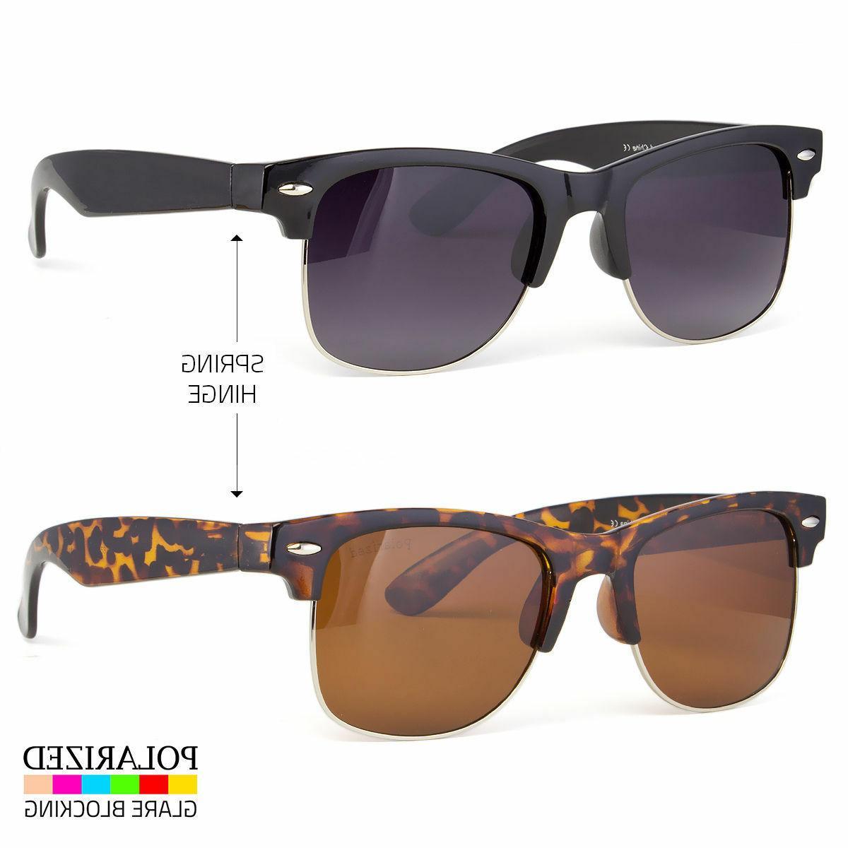 Polarized Clubmaster Sunglasses Men's Women Vintage Designer