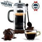 french press coffee maker leaf