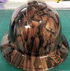 FULL BRIM Hard Hat custom hydro dipped , NEW BURNISHED WOOD