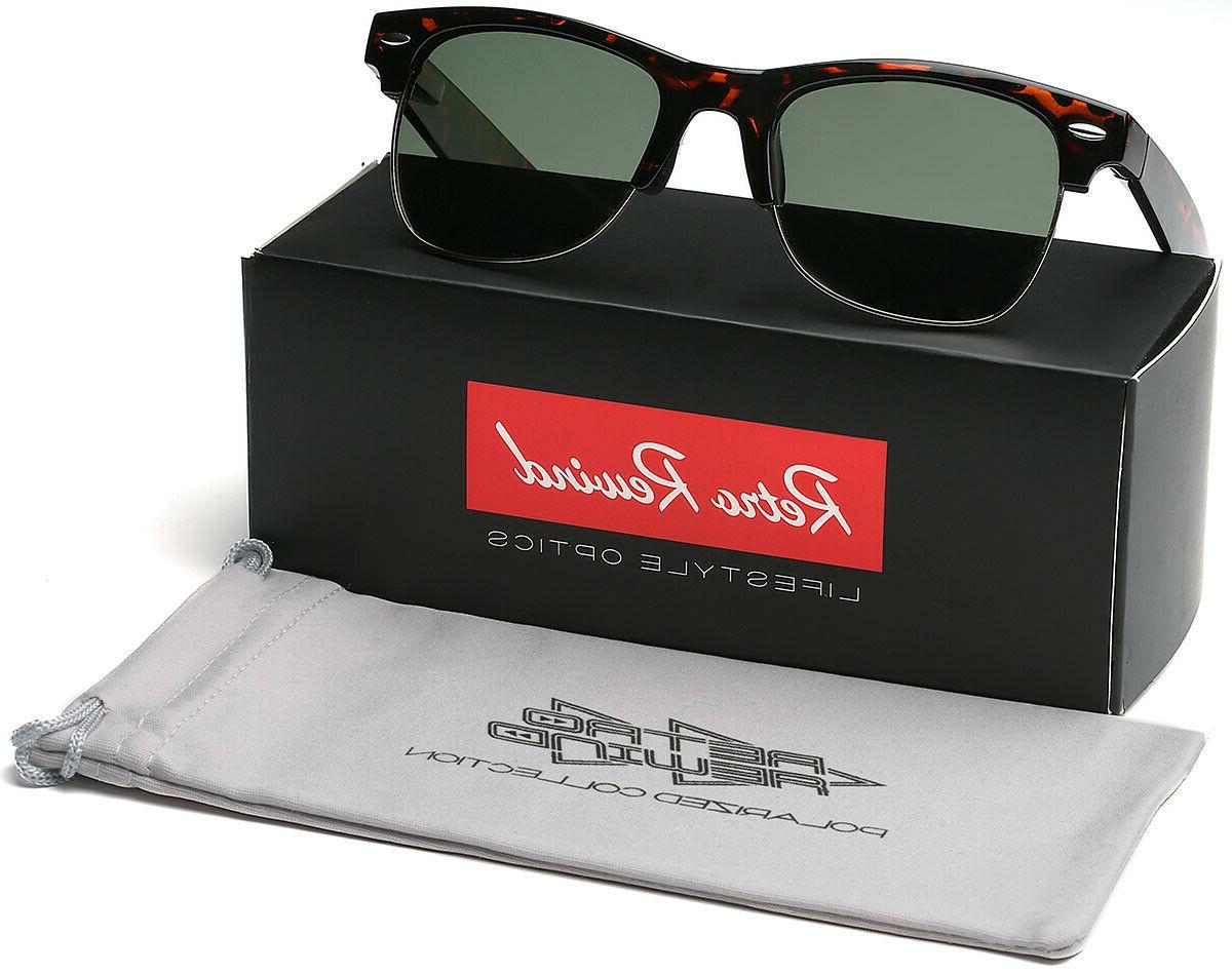 large polarized half frame retro vintage glasses