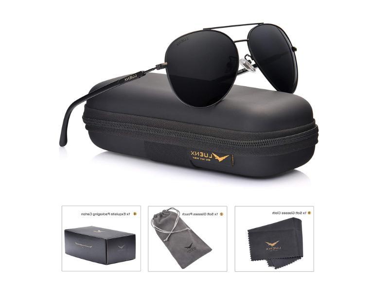 LUENX Aviator Unisex Sunglasses Polarized - UV 400 60MM Blac