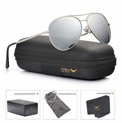 LUENX Men Aviator Sunglasses Polarized UV 400 with case 60MM