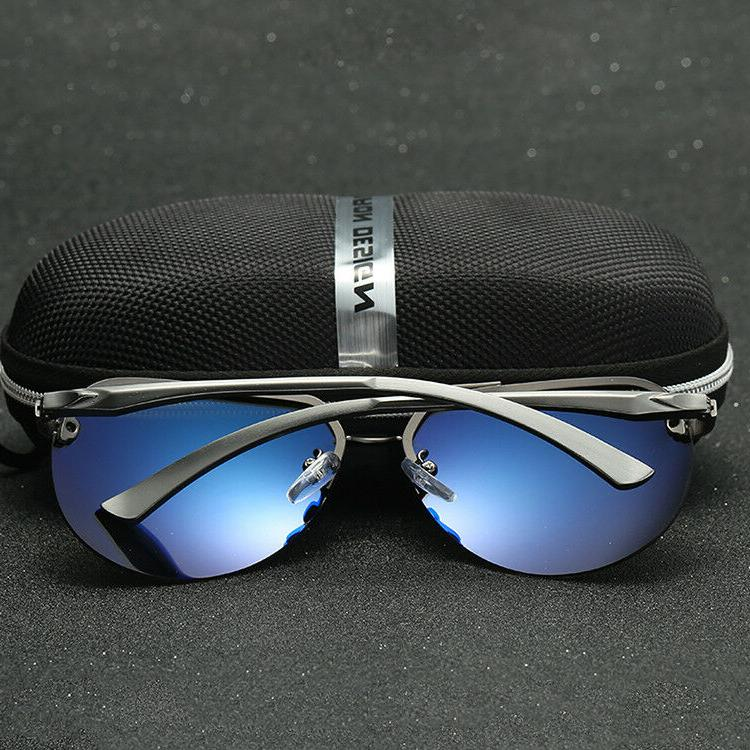 Men's Pilot Mirrored Lens Driving Sunglasses