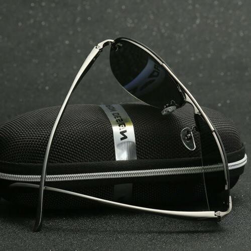 Men Vintage Aviator Sunglasses Mirrored Lens Metal Frame