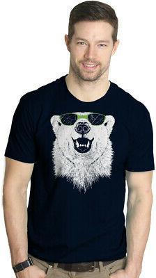 Mens Polar Bear Wearing Sunglasses Tshirt Funny Zoo Animal G