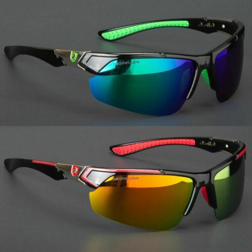 new men polarized sunglasses sport mirror wrap