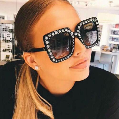 Oversized Large Square Frame Bling Rhinestone Sunglasses Wom
