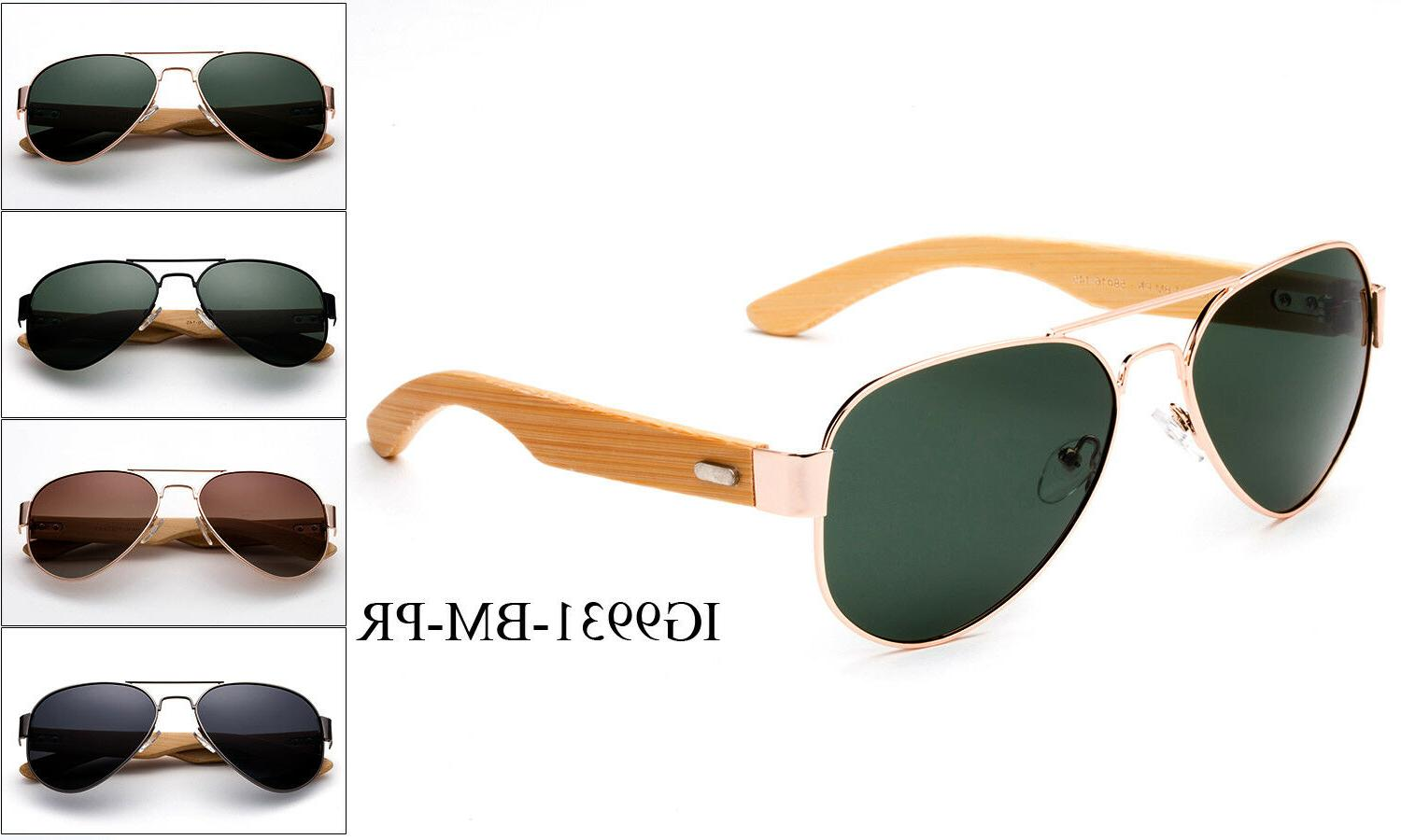Polarized Bamboo Aviator Sunglasses Men Women Retro Classic