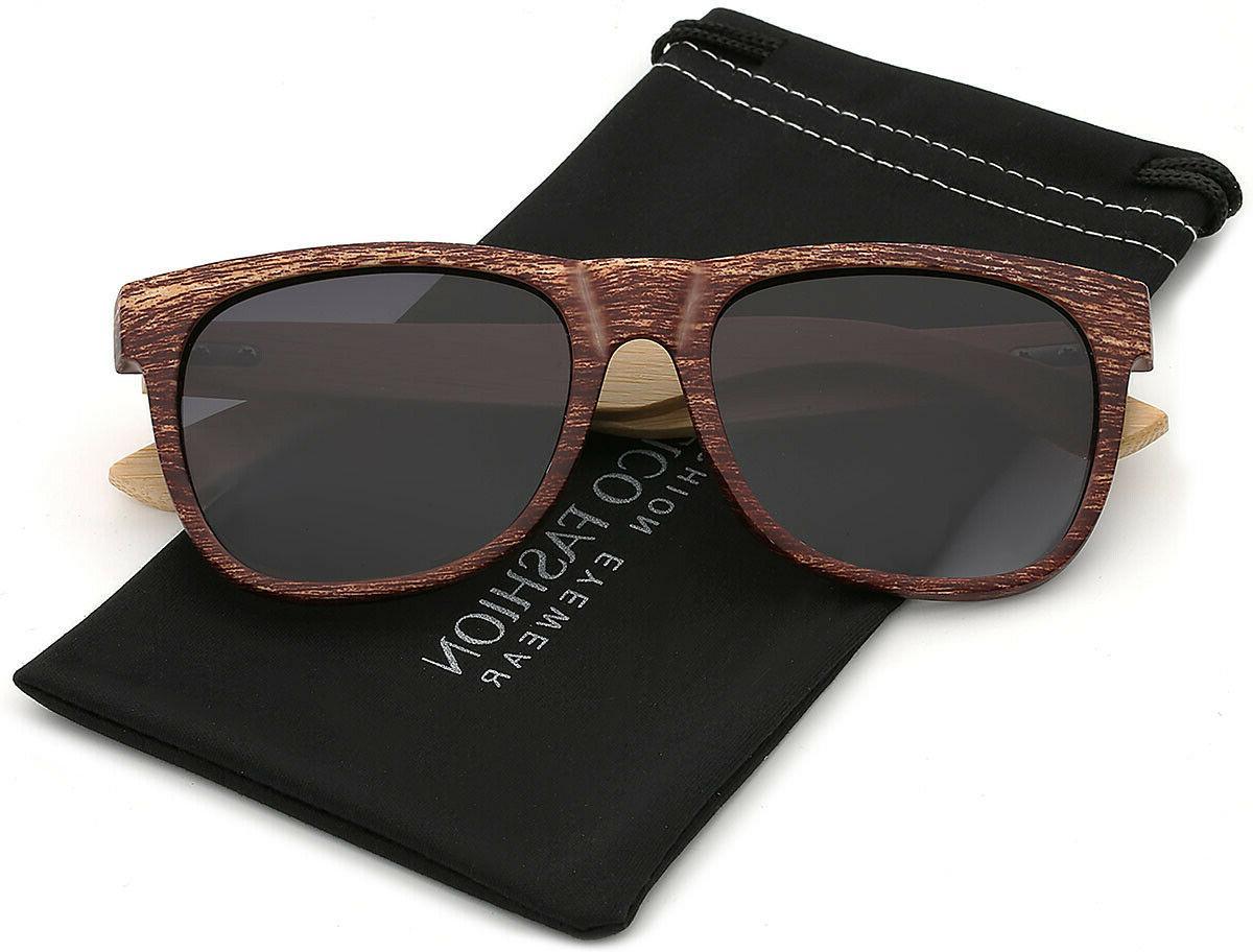 polarized bamboo wood sunglasses retro classic vintage