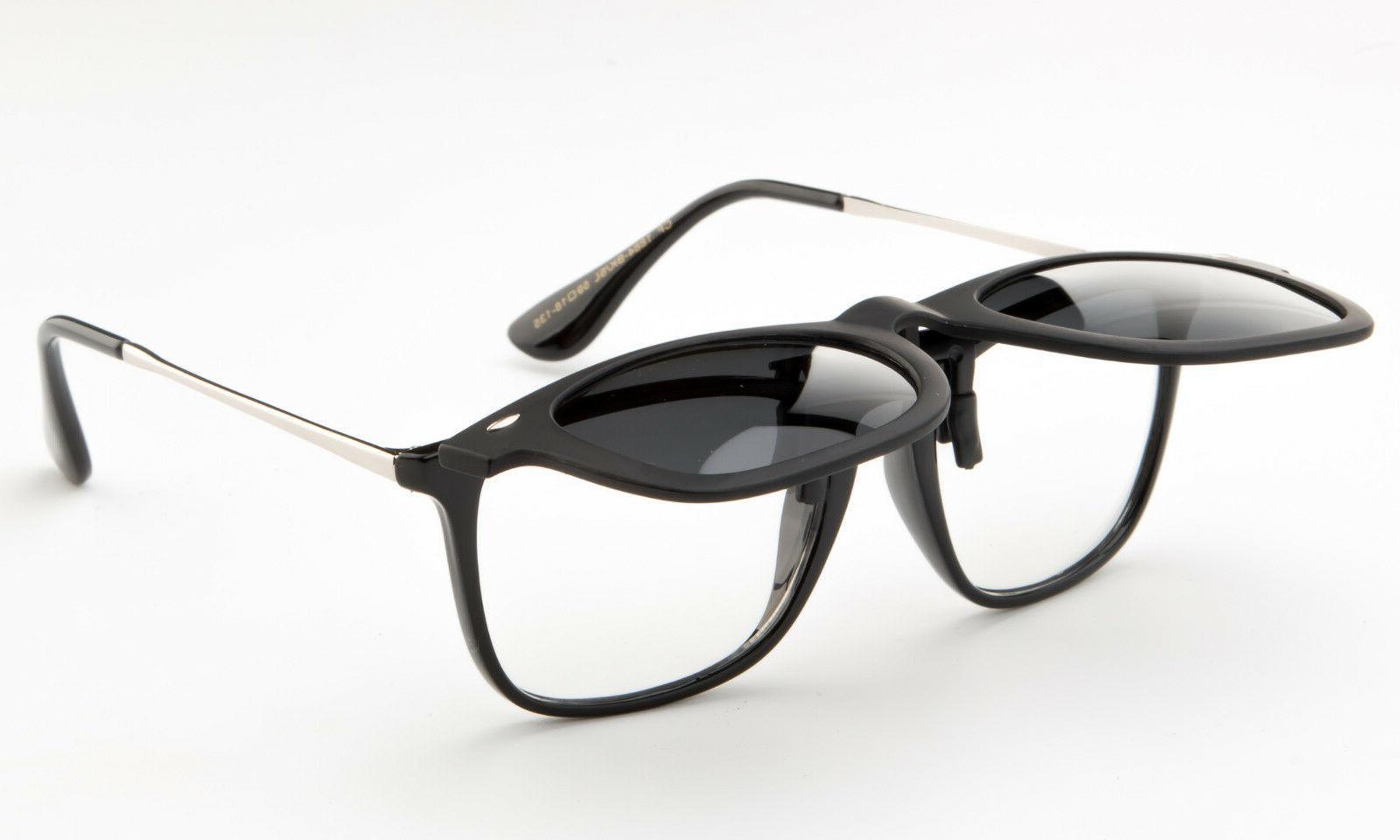 polarized flip up clip on sunglasses black