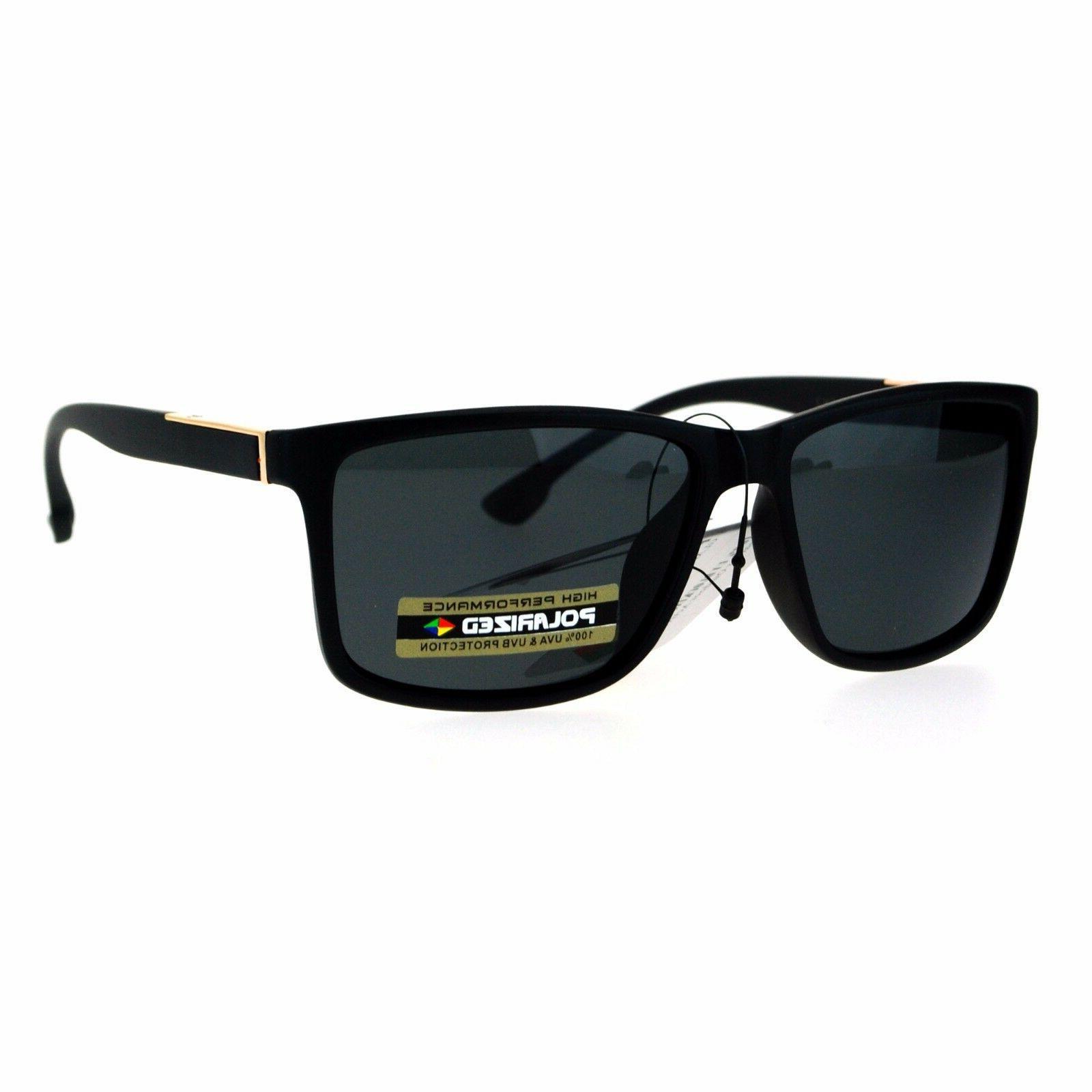 polarized lens mens sunglasses classic fashion rectangular