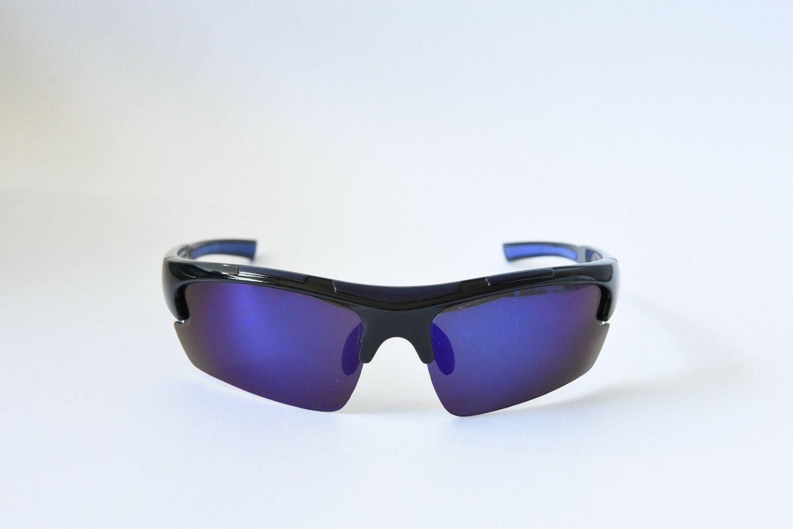polarized lightweight sport sunglasses black blue mirror