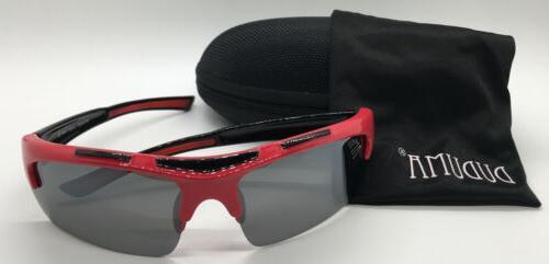 polarized sports sunglasses men women red black