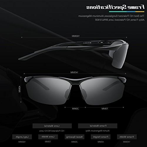 TOREGE Men's Style Polarized Al-Mg Frame Glasses