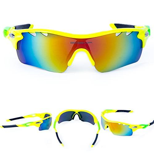 RIVBOS Polarized Sports Sun with Interchangeable Fluorescent