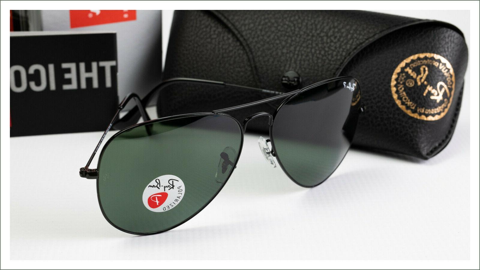 RayBan RB3025-002/18 AVIATOR BLACK crystal green Polarized 5